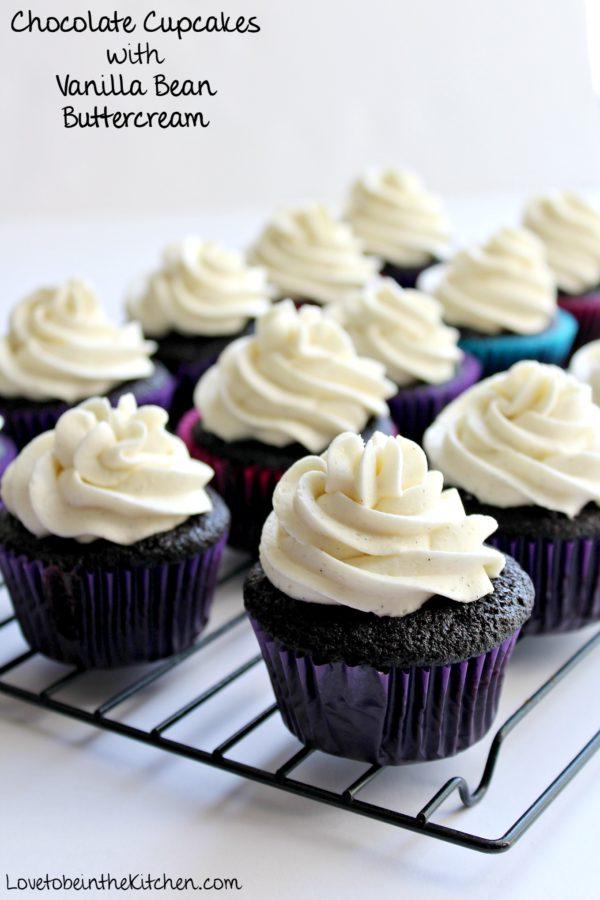 Chocolate Cupcakes with Vanilla Bean Buttercream