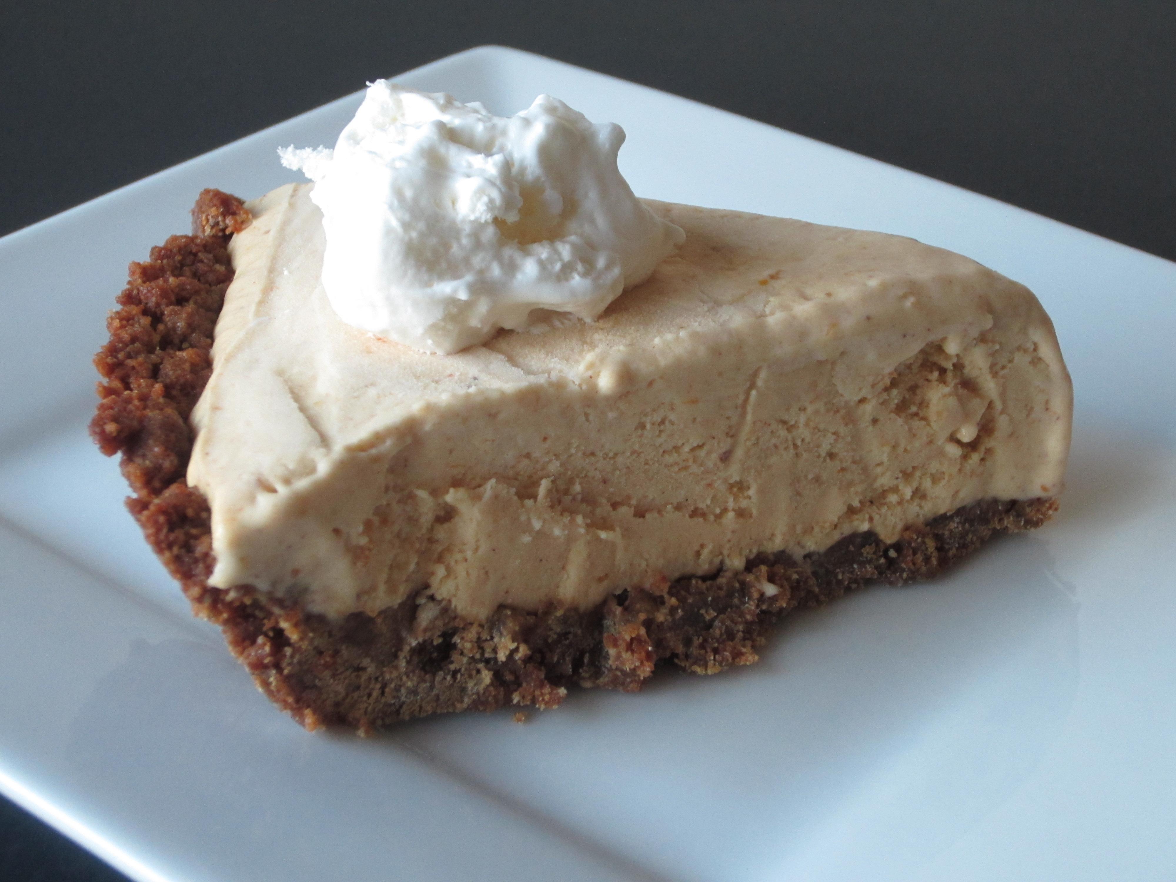 Pumpkin Pie Ice Cream Pie with a Gingersnap Pie Crust