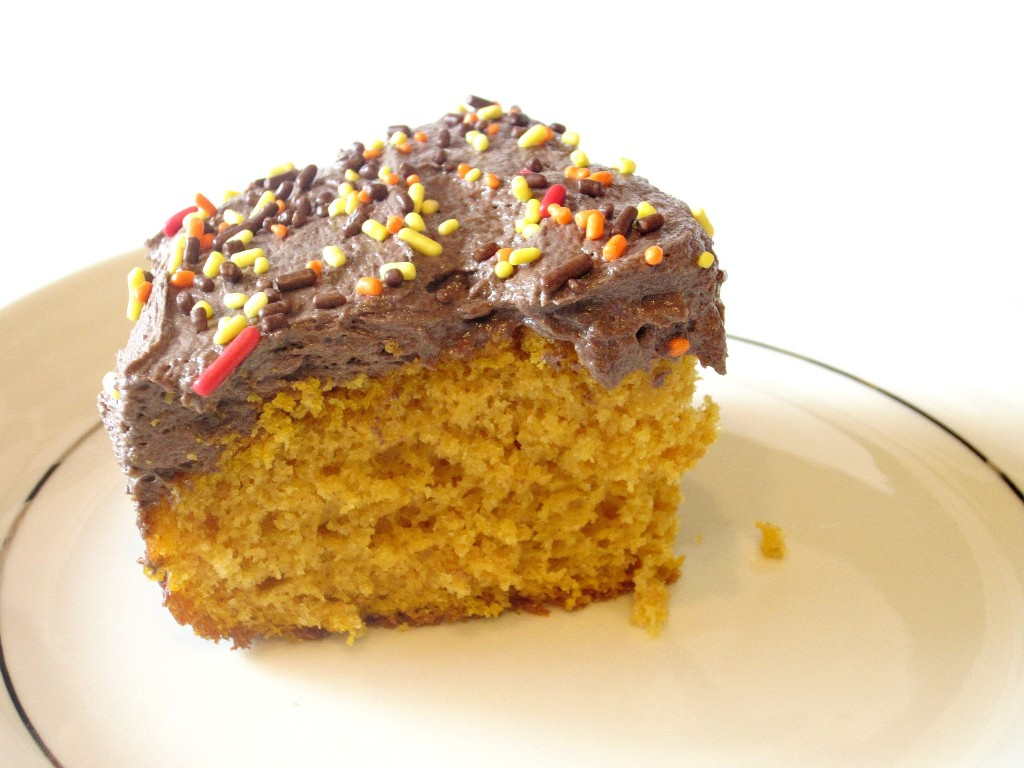 Pumpkin Spice Cake with Chocolate Buttercream Frosting (5)