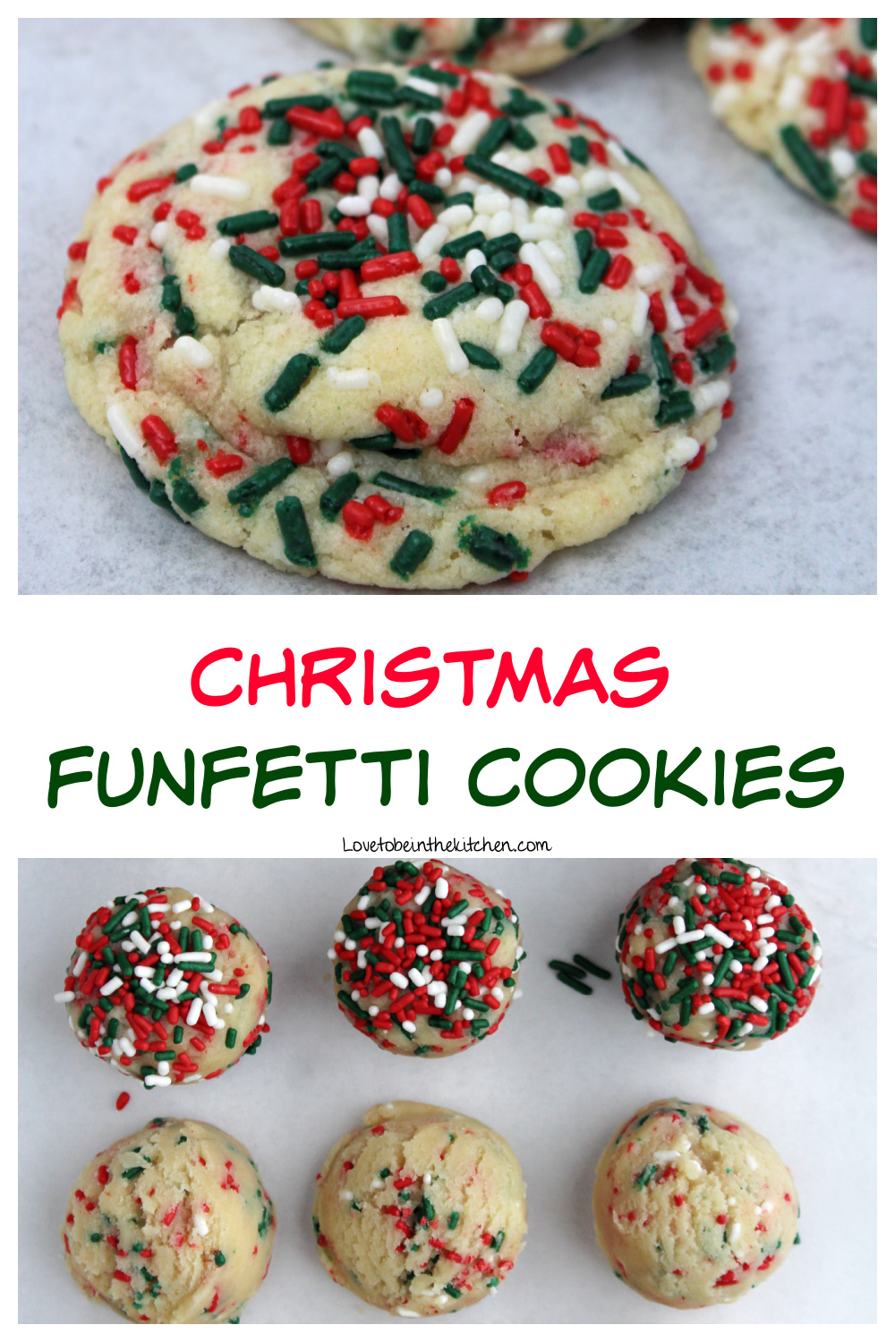 Christmas Funfetti Cookies collage