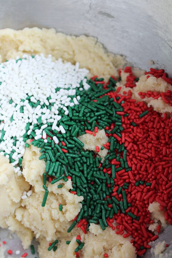 Cookie dough with Christmas sprinkles