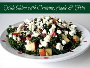 Kale Salad with Craisins, Apple & Feta