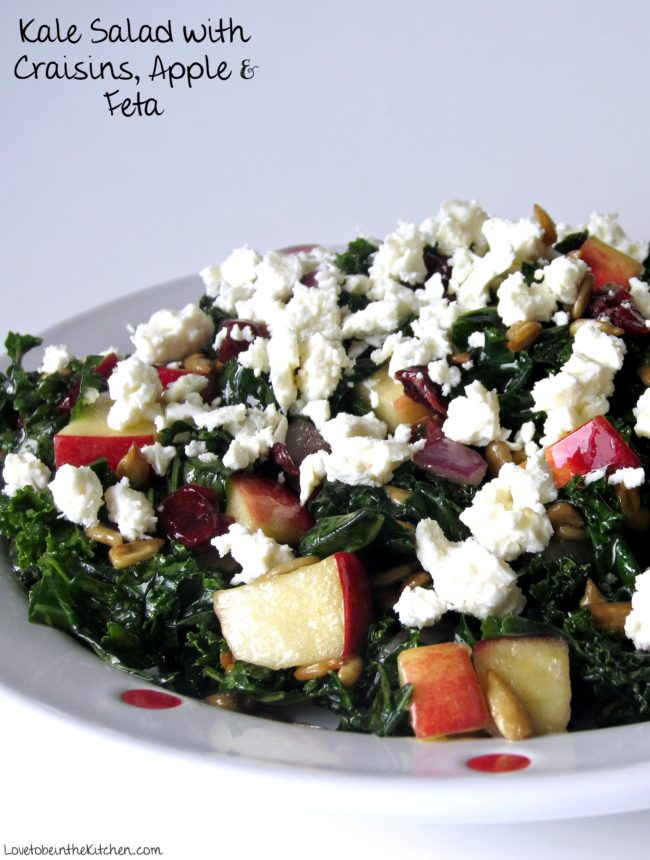 Kale Salad with Craisins, Apple & Feta - Love to be in the ...