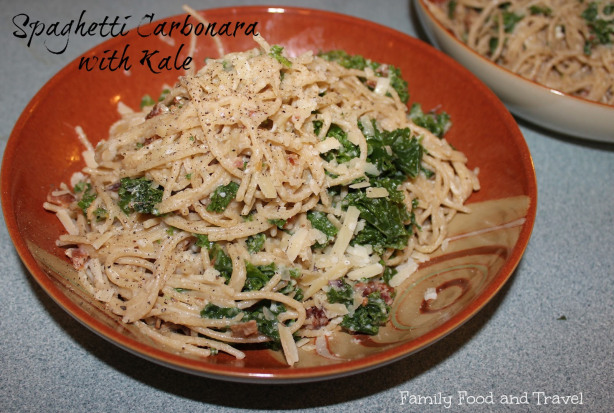 Spaghetti Carbonara with Kale