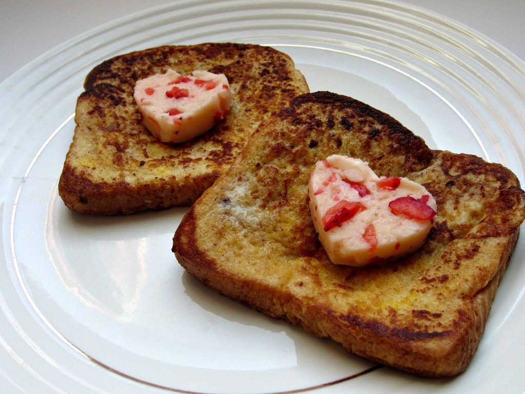 Strawberry Butter Hearts on French Toast