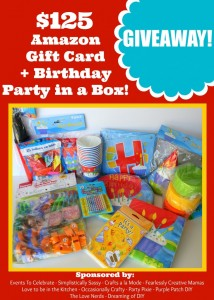 $125 Amazon Gift Card + Birthday Party in a Box Giveaway