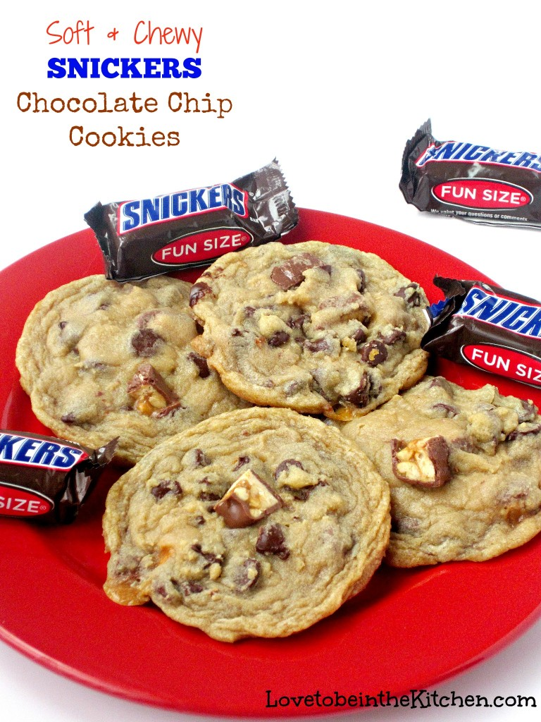 Soft and Chewy Snickers Chocolate Chip Cookies
