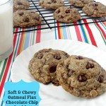 Soft and Chewy Oatmeal Flax Chocolate Chip Cookies