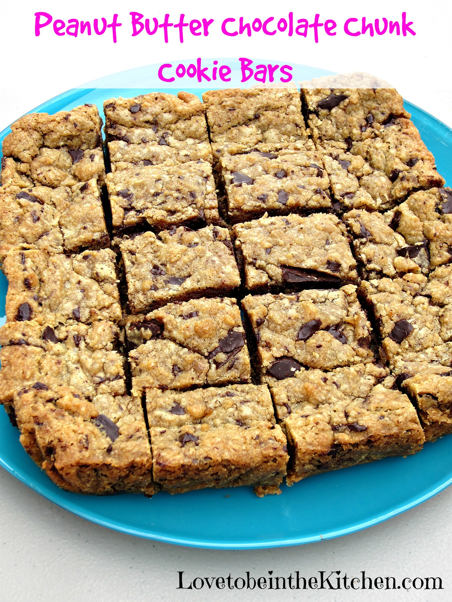 Peanut Butter Chocolate Chunk Cookie Bars - Love to be in the Kitchen