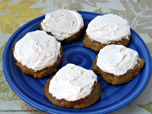 Soft Pumpkin Cookies with Cinnamon Sugar Frosting