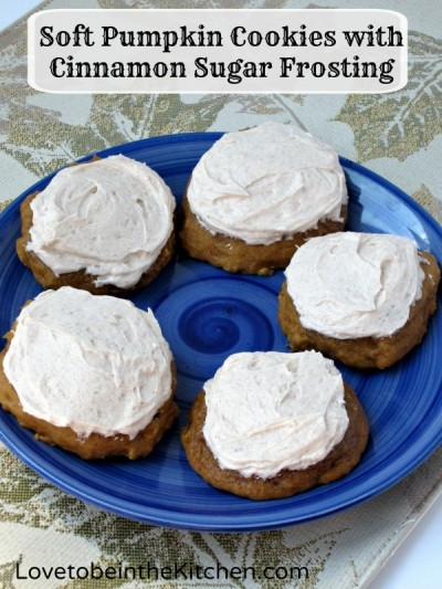 Soft Pumpkin Cookies with Cinnamon Sugar Frosting - Love to be in the ...
