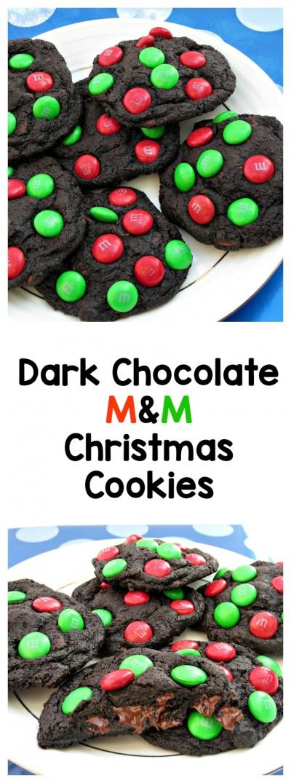 Dark Chocoalte M&M Christmas Cookies