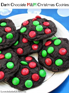 Dark Chocolate M&M Christmas Cookies
