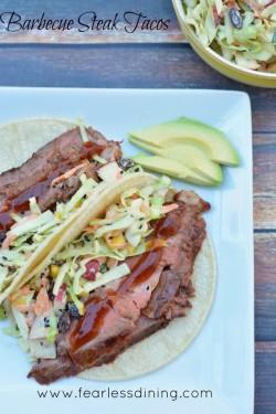 Barbeue Steak Tacos with Coleslaw