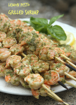 Lemon Pesto Grilled Shrimp