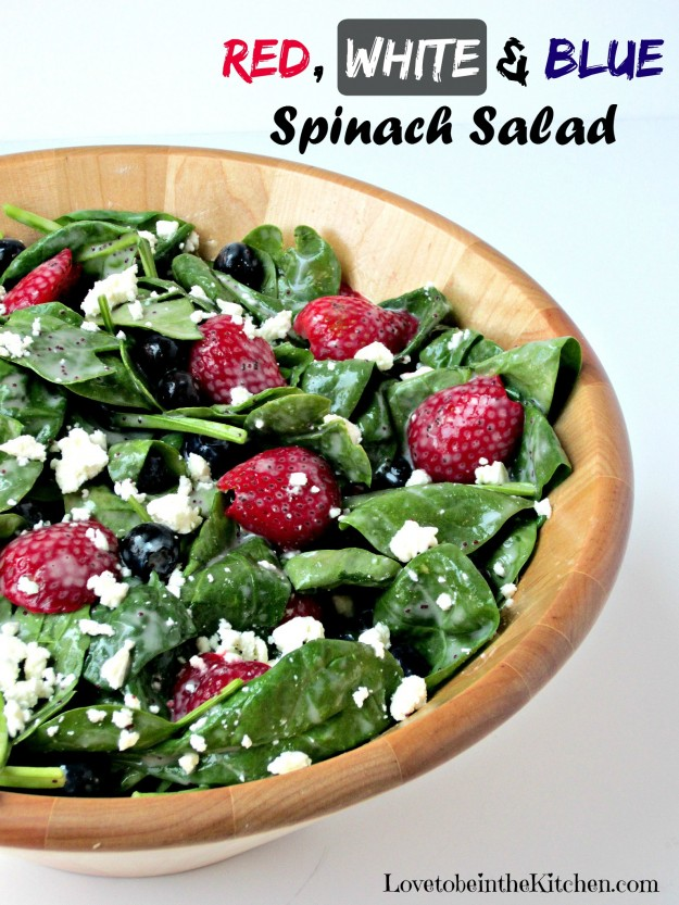 Red, White and Blue Spinach Salad main