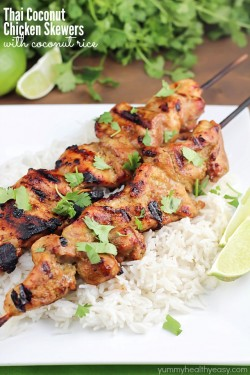 Thai Coconut Chicken Skewers with Coconut Rice