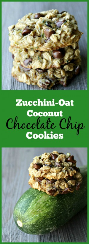 Zucchini-Oat Coconut Chocolate Chip Cookies