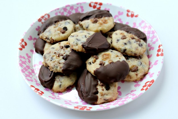 Chocolate Dipped Toffee Shortbread Cookies