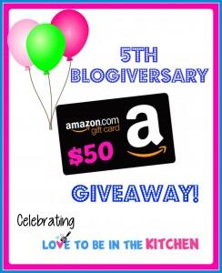5 Year Blogiversary + $50 Amazon Gift Card Giveaway!