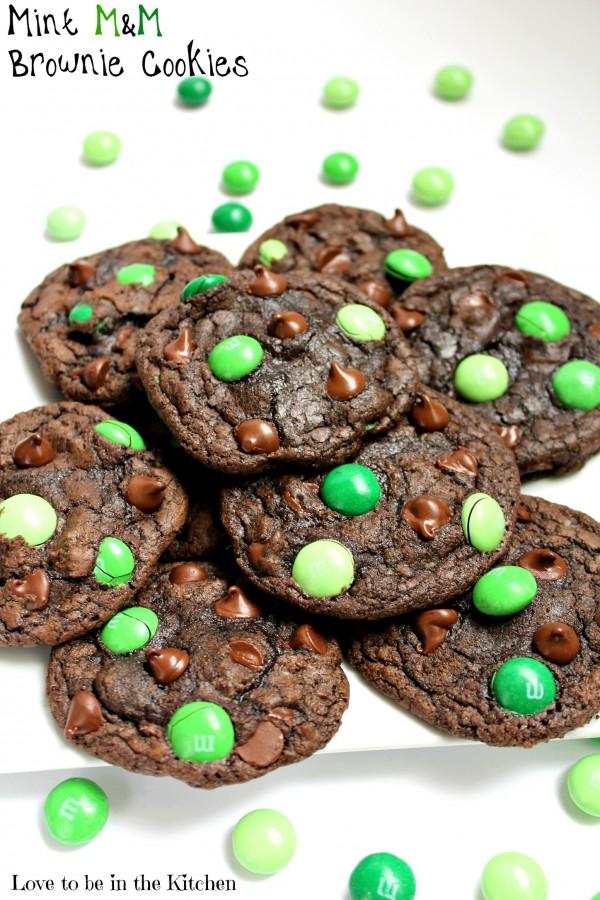 Mint M&M Brownie Cookies