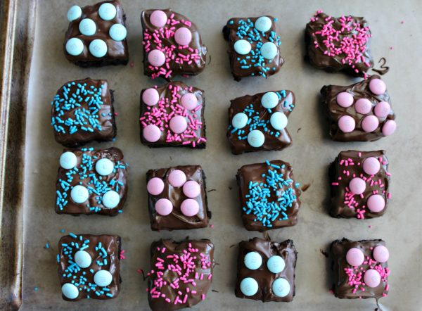 Baby Shower Chocolate Dipped Brownies