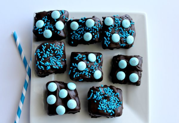 Baby Shower Chocolate Dipped Brownies Boy