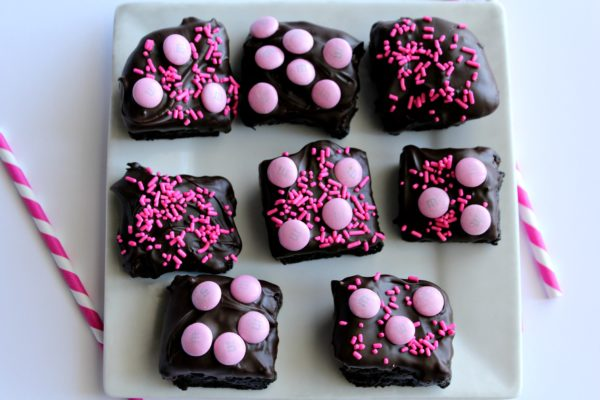Baby Shower Chocolate Dipped Brownies Girl