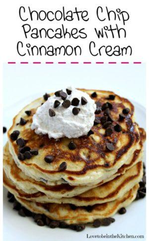 Chocolate Chip Pancakes with Cinnamon Cream