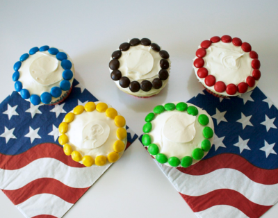 Olympic Ring Cupcakes from The Surly Housewife