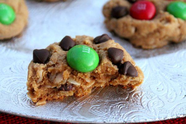 Healthier Peanut Butter M&M Christmas Cookies