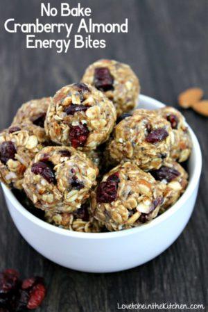 No Bake Cranberry Almond Energy Bites