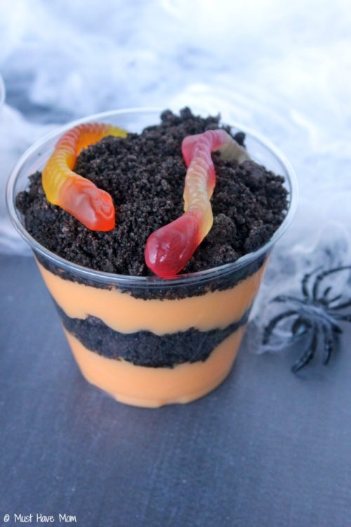 Halloween Orange Scream Pudding Cups