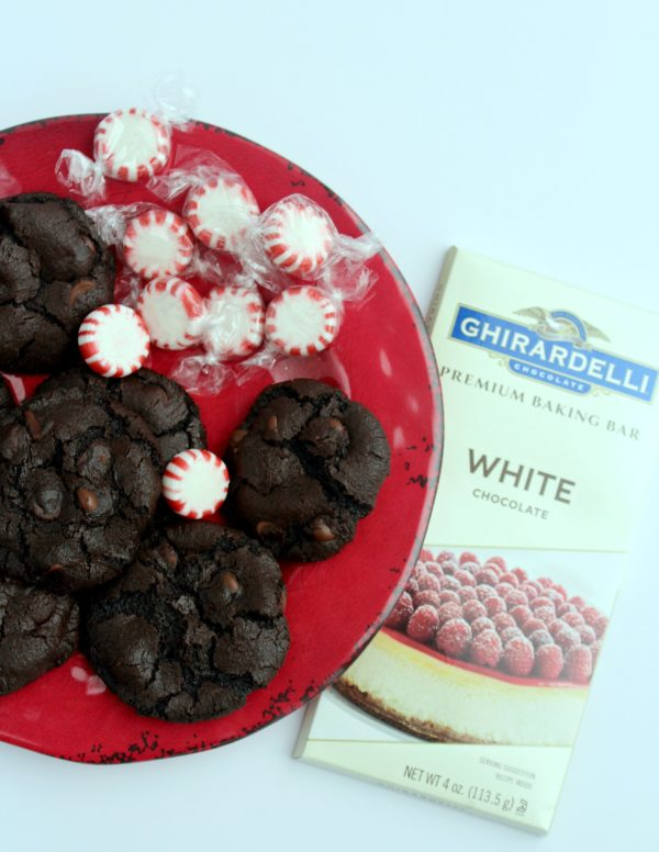 White Chocolate Dipped Peppermint Chocolate Cookies