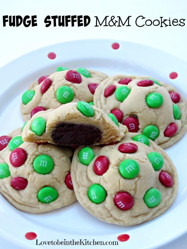 Fudge Stuffed M&M Cookies