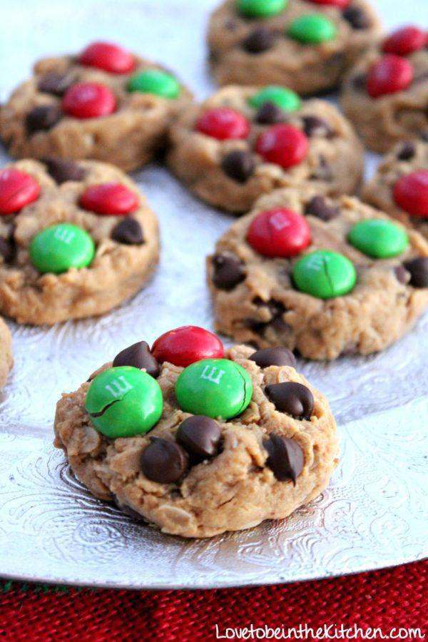 Healthier Peanut Butter M M Christmas Cookies