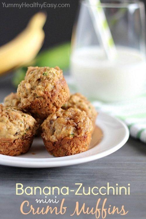 Banana-Zucchini Mini Crumb Muffins