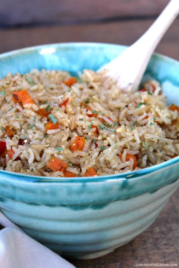 Instant Pot Vegetable Brown Rice Pilaf