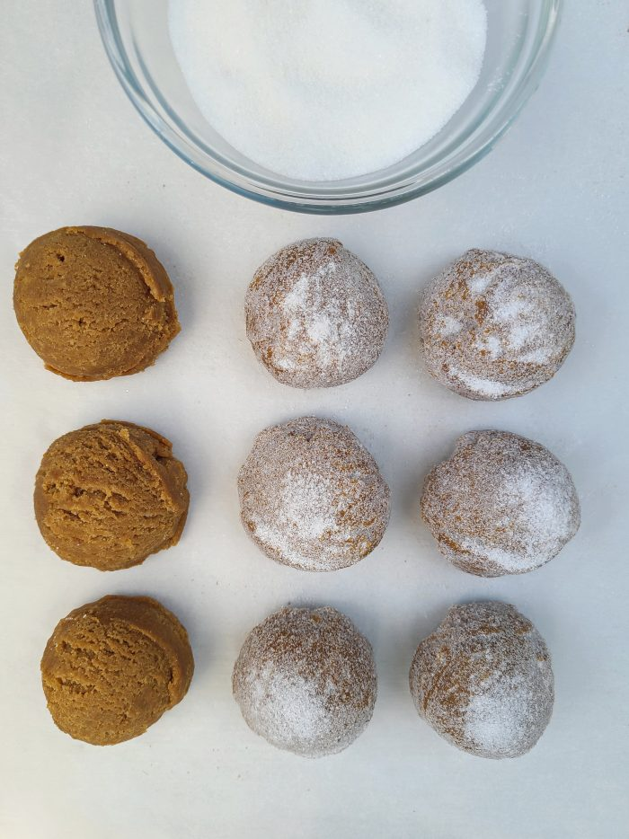 Ginger Molasses Cookie Dough Balls some dipped in sugar
