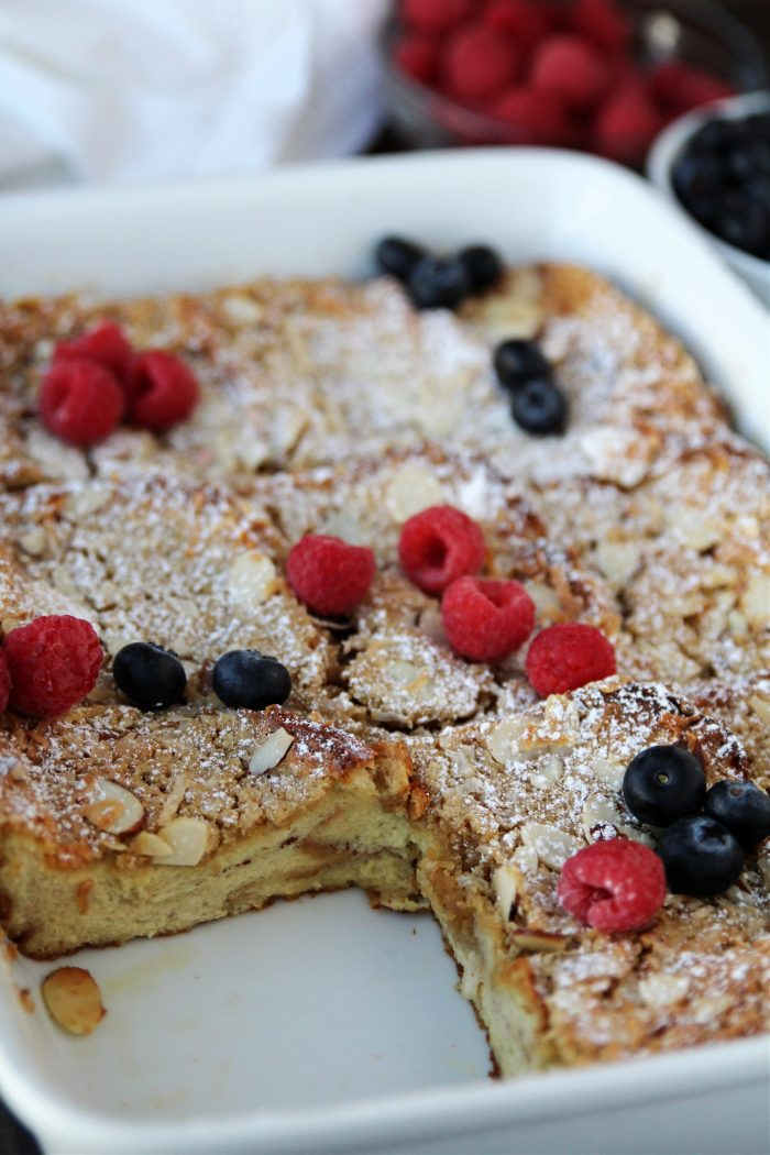 piece cut out of french toast casserole