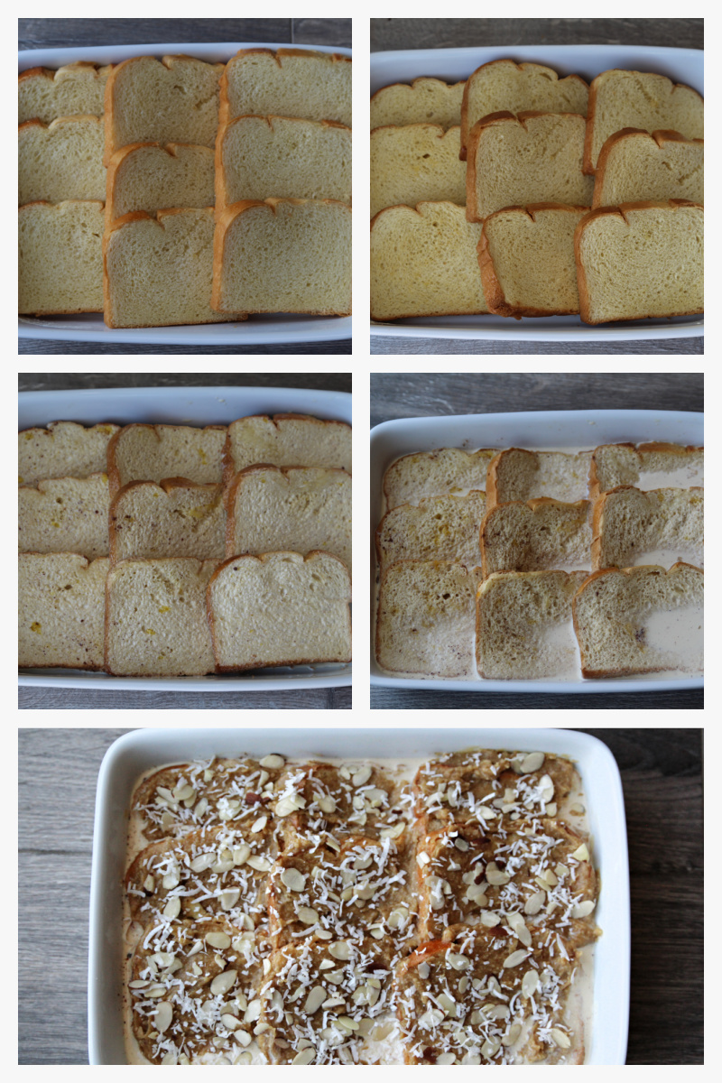 collage of pictures for how to make french toast casserole