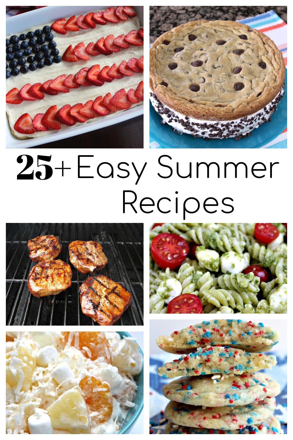 Collage of easy summer recipes