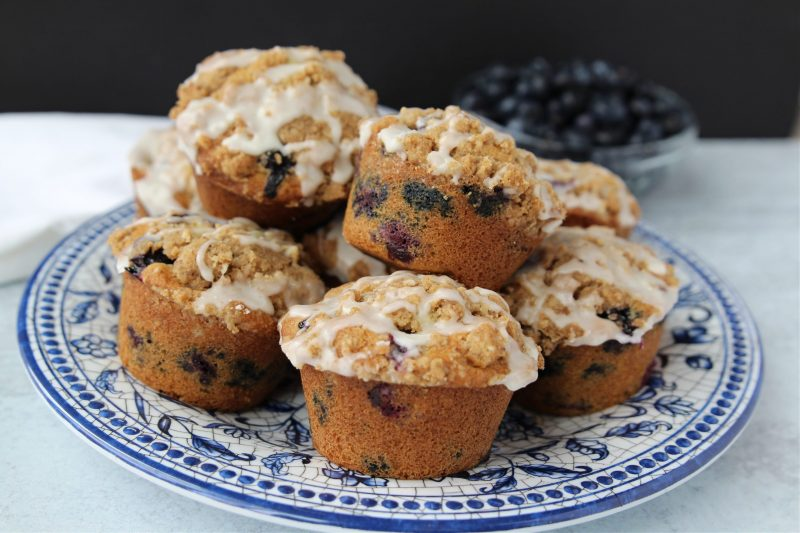 Plate of blueberry streusel muffins