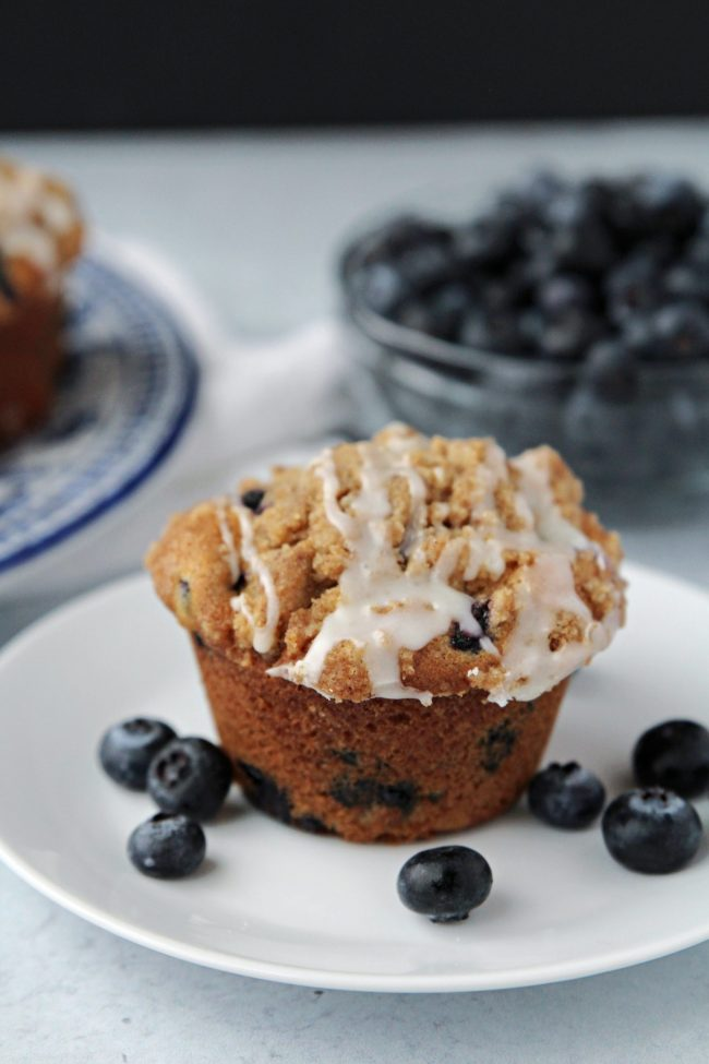 Blueberry muffin on plate with blueberries in a bowl