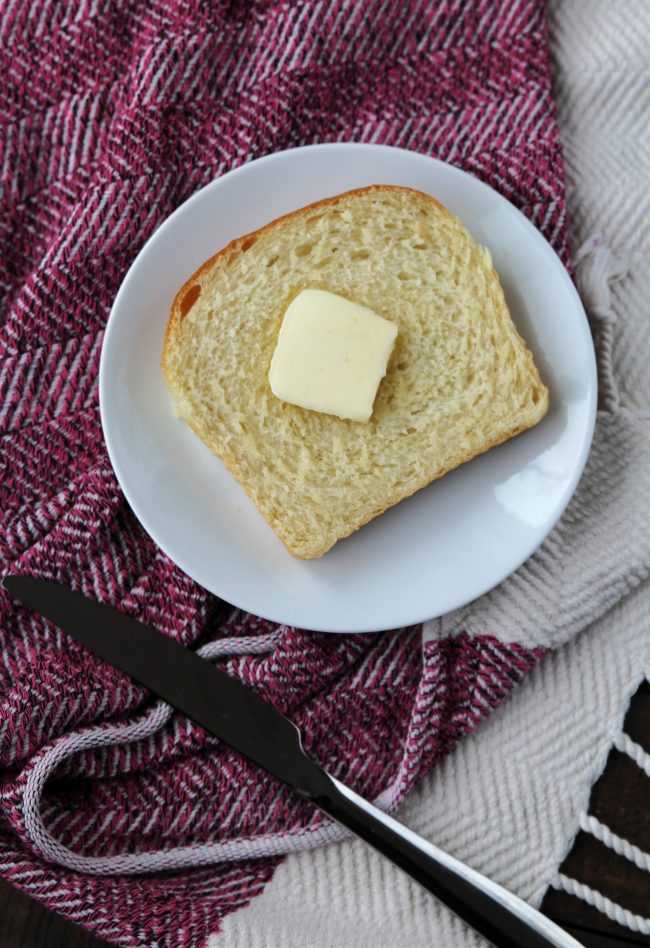 Piece of homemade bread with butter
