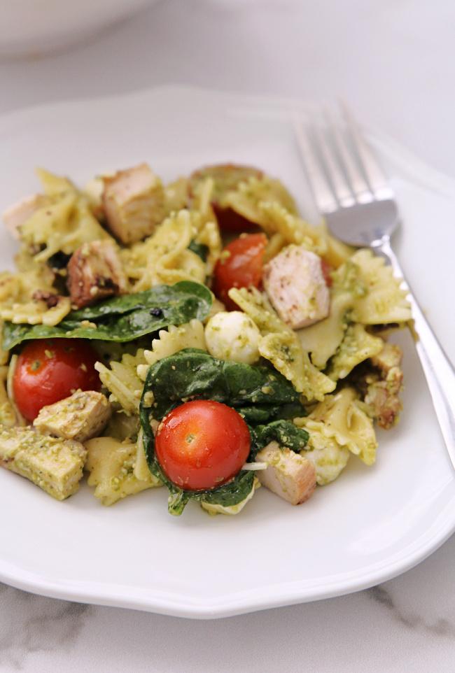 plate of Chicken Pesto Pasta Salad