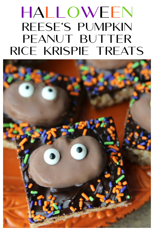 Halloween Reese's Pumpkin Peanut Butter Rice Krispie Treats
